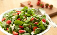 Spinach and Strawberry Salad. I usually do baby spinach, sliced strawberries, candied walnuts, feta, and poppyseed dressing. I think.