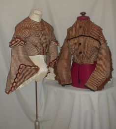 """Striking 1860's Stripe Gauze Antique Bodices Museum de Accessioned   eBay seller fiddybee; pagoda sleeve bodice has piping at neck, armscyes & waist, lined iwth polished cotton, front hook & eye closure, very minor underarm discoloration, bust: 34"""", waist: 24; other bodice lined w/ polished cotton, front hook & eye closure, decorative buttons, same piping and measurements"""