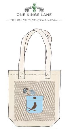 Love this tote bag design by my sister in law Debbie Barbare? Cast your vote by pinning it! For more information on our Blank Canvas Challenge visit www.onekingslane.com/designchallenge