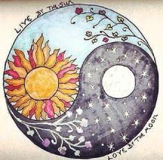 Yin & Yang Sun & Moon with quote art Pretty Drawings, Art Drawings, Drawing Art, Drawing Sketches, Drawing Ideas, Hippie Art, Hippie Life, Hippie Peace, Hippie Gypsy