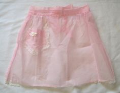 Vintage Apron, Pink Apron with Lace, Half Apron, Vintage Apron, hostess apron, Swiss Dot Apron by VintagePlusCrafts on Etsy
