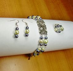 Glass Pearl Bracelet Ring and Earrings set Hand by AmhalchyJewelry