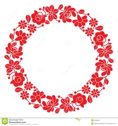Kalocsai Red Embroidery In Circle - Hungarian Floral Folk Pattern - Download From Over 40 Million High Quality Stock Photos, Images, Vectors. Sign up for FREE today. Image: 52558021