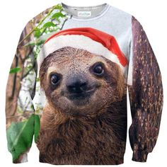 Christmas Sloth Face Sweater