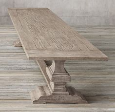 RH's Reclaimed Russian Oak Baluster Rectangular Extension Dining Table:Handcrafted of solid reclaimed white oak timbers from decades-old buildings in Russia, our trestle-style table draws f Dinning Room Tables, Trestle Dining Tables, Oak Table, Dining Room Design, Wooden Tables, Interior Design Living Room, White Oak Dining Table, Extension Dining Table, Home Decor Furniture