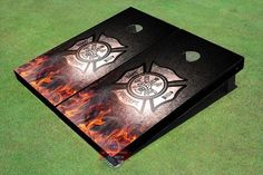 Fire Department General Themed Cornhole by AllAmericanTailgate Firefighter Apparel, Firefighter Family, Firefighter Wedding, Firefighter Decor, Fireman Wedding, Volunteer Firefighter, Fire Dept, Fire Department, Cornhole Boards