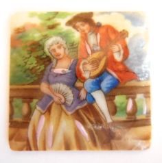 Vintage French Limoge cameo (1) Beautiful porcelain glass square Victorian couple Lute  man woman Bridal 31mm (1) by a2zDesigns on Etsy Lute, French Vintage, Men And Women