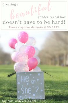 Check out these 3 easy steps to create a beautiful DIY gender reveal box using an awesome new product - vinyl decals - to get a flawless outcome. Fall Gender Reveal, Simple Gender Reveal, Gender Reveal Balloons, Birthday Card Sayings, Dad Birthday Card, Husband Birthday, Birthday Ideas, Birthday Parties, Balloons Photography