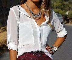 white two pocket chiffon -- love this blouse!