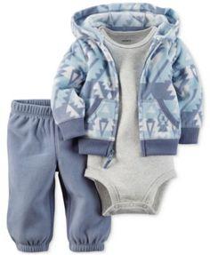 Carter's Baby Microfleece Boys' 3-Pc. Geo-Print Hoodie, Bodysuit