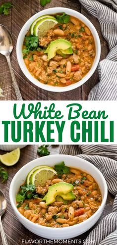 White Bean Turkey Chili is hearty, healthy turkey chili recipe with lean ground turkey, white beans, fresh lime and plenty of spice! It's gluten-free and freezer-friendly! Delicious Dinner Recipes, Good Healthy Recipes, Vegetarian Recipes, Recipes For Soups And Stews, Bean Soup Recipes, White Bean Turkey Chili, Healthy Lunches For Work, Quick And Easy Soup, Slow Cooker Soup
