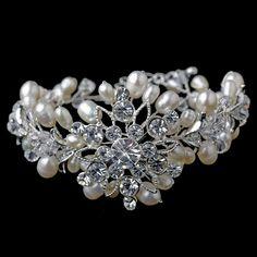 Silver Freshwater Pearl & Rhinestone Floral Bracelet 1163