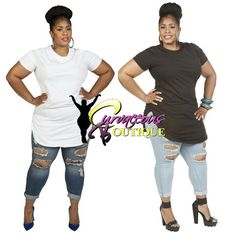 WHITE T-SHIRT DRESS / TOP  BLUE BOY FRIEND ANKLE JEANS ( MODEL WEARING 2X )  SIZE :  1X  2X  3X  TOP COLORS  BLACK  WHITE  PINK  MINT  30% OFF SELECTED ITEMS  USE CODE : LDAY30  ALL SALE ARE FINAL NO RETURN / EXCHANGE  CODE USE BE USED AT CHECKOUT  WWW.CURVACEOUSBOUTIQUE.COM & IN STORE