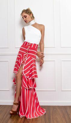 SAIA LISTRADA - SA16546-58 | Skazi, Moda feminina, roupa casual, vestidos, saias, mulher moderna