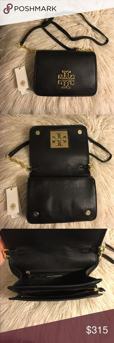 """Tory Burch Britten Combo Crossbody Brand new never used Tory Burch Black Britten Combo Crossbody!  * Tory Burch pebbled leather crossbody with golden hardware. * Adjustable, removable crossbody strap with chain detail; 22"""" drop. * Flap top; magnetic double-snap closure. * Double-T logo medallion. * Inside, two compartments: one open and one zip; one zip and two slip pockets. * 6""""H x 8.3""""W x 2.5""""D. * """"Britten"""" is imported.  🚫No trades 🚫No lowballing ✅Bundle Discount 💯 Authentic items…"""