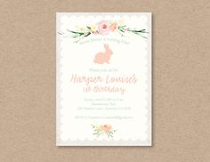 Watercolor Floral Little Bunny Easter Spring Birthday Party Invitation