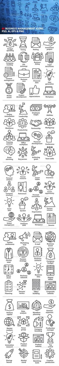 Business Management Icons in Line Style. Pack 3. - Business Icons