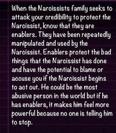 Enablers A Recovery from Narcissistic sociopath relationship abuse. He has a few of these. Just as evil as him, maybe even more so.