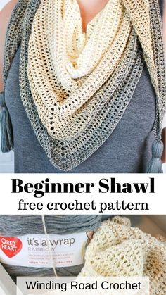 My First Triangle Shawl Free Crochet Pattern - Winding Road Crochet - - Simple, beautiful and customizable - My First Triangle Shawl is a free crochet shawl pattern that will walk you through the making and shaping of a shawl. One Skein Crochet, Crochet Shawl Free, Crochet Video, Crochet Shawls And Wraps, Easy Crochet Patterns, Crocheted Scarves Free Patterns, Prayer Shawl Crochet Pattern, Easy Sweater Knitting Patterns, Prayer Shawl Patterns