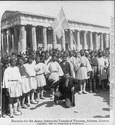 Photograph - 1897 - Recruits for the Army, Before the Temple of Theseus, Athens, Greece Photographs Of People, Vintage Photographs, Vintage Photos, Old Pictures, Old Photos, Greek Independence, Army Recruitment, Old Greek, Greek Warrior