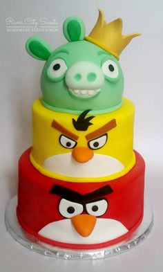 3 Tier Angry Birds Cake - By River City Sweets in Richmond, VA #angrybirds #birthdaycake