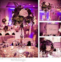 black, white and purple,  wedding centerpieces www.fostersflowershop.com