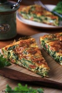 Kale Frittata – A Healthy Breakfast Casserole ,breakfast recipe Note: added more garlic and used turkey sausage instead of salami. Yum!!!