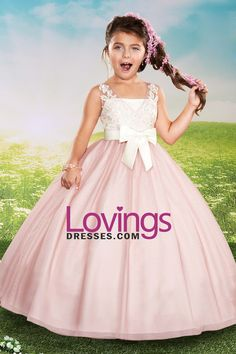 2016 Ball Gown Flower Girl Dresses V Neck Tulle With Applique And Sash