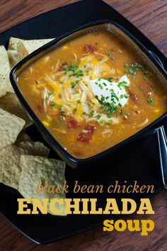 This Black Bean Chicken Enchilada Soup will quickly become a favorite recipe because it is frugal, healthy, and SUPER easy to make. #chicken #bean #enchilada