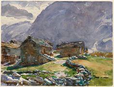 John Singer Sargent, Simplon Pass: Chalets, aquarelle, vers 1909-11, Musée des Beaux-Arts de Boston.