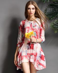 Red Colorblock Silk Blend 3/4 Sleeve Mini Dress. VIPme.com offers high-quality Day Dresses at affordable price.
