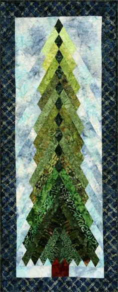Neat idea - using a French braid quilt design . I would make the tree shorter and fatter, like a christmas tree . Tall Pines tall) pattern by Sandi Irish Christmas Tree Quilt, Christmas Tree Pattern, Christmas Sewing, Christmas Projects, Christmas Quilting, Christmas Ornaments, Hanging Quilts, Quilted Wall Hangings, Tree Patterns