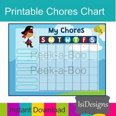 Place  this chore chart on your fridge  or attach to your clipboard, printing a new sheet each week. Or you can also make it reusable by laminating it or putting in your fa... #etsy #charts #responsibility