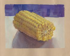 Gouache On Paper Corn On The Cob $50 Original Art 4.5x6.5 in. gouach on toned paper. Sergio Lopez Fine Art. Paint Drip 54 www.themainloop.com Toned Paper, Drip Painting, Cob, Gouache, Original Art, Fine Art, The Originals, Drawings, Sketches