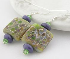 $39.00.....Handmade earrings green purple square artisan lampwork by cserpent