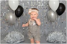 Shana Griffin Photography first birthday cake smash photo setup. Bead curtains, Salvage fashion grey paper, Pom poms, balloons, a romper and a cute headband! Smash Cake Girl, 1st Birthday Cake Smash, Baby First Birthday, Girl Birthday, Birthday Fashion, Birthday Ideas, 1st Birthday Photoshoot, First Birthday Pictures, Cake Smash Photography