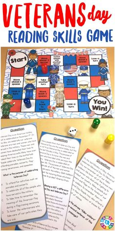 This game is EXCELLENT for teaching students about Veterans Day! With this Armed Forces Reading Game, students will learn about the role of our troops while practicing main idea, sequence, author's purpose, inferences, fact and opinion, and much more!