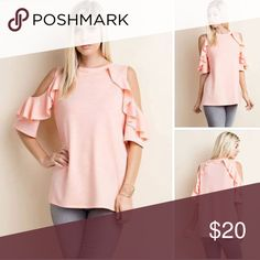 Cold shoulder ruffle sleeve top Like new, excellent condition. Only worn for a couple of hours.  Material is French terry. Super cute ! 1.4.3. Story Tops Blouses