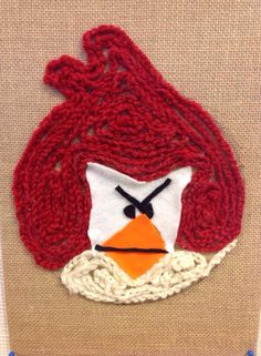 ketjuvirkkaus Textile Fabrics, Angry Birds, Crafts For Kids, Greeting Cards, Beanie, Crochet, Art Ideas, Education, School