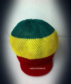 Knitted Mesh Large Peak Hat - Red, Green & Gold - Rasta Clothing Company