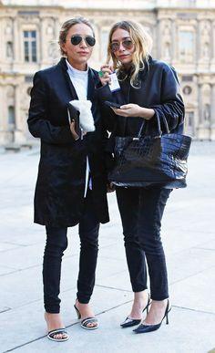 Olsens Anonymous Blog Stye Fashion Mary Kate And Ashley Olsen Twins All Black On Black Basics Paris Croc Bag Pants Jeans Sandals Slingback Pumps Coats