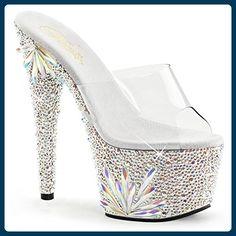 Pleaser Bejeweled-701FL sexy High Heels Plateau Sandaletten mit Strass Klar Silber 35-41, Größe:EU-38 / US-8 / UK-5 - Sandalen für frauen (*Partner-Link)