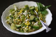 Fresh Corn and Cucumber Salad with Feta and Homemade Dressing