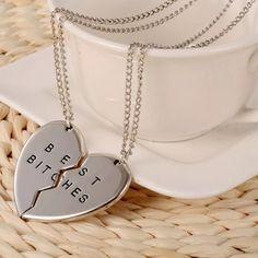 "Best Bitches Necklace 2pc silver tone ""Best Bitches"" necklace set Jewelry Necklaces"