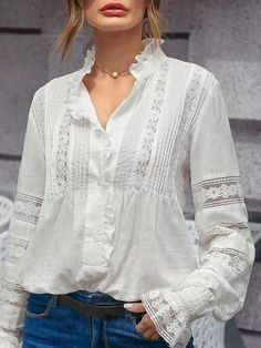 Yopopstyle Floral White Women Tops Polyester Stand Collar Casual Long Sleeve Ruffled Tops – yopopstyle Source by shop Mein Style, Bohemian Mode, Boho Fashion, Womens Fashion, Romantic Fashion, Blouse Styles, Lace Tops, Types Of Sleeves, Blouses For Women