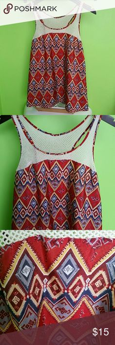 XXI Print Net Mesh Tank Top Red-orange color. Has net top and back. Excellent Condition. Never worn Forever 21 Tops Tank Tops