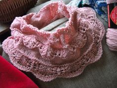 Ravelry: Project Gallery for Christmas cowl - pattern by Jennifer Little - fingering or sport weight - very good free pattern for showing off self-striping yarn - 12 stitch pattern repeat