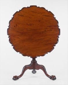 Mesa redonda vintage (1760–90) Caoba, EE.UU, Madera, Mesa de Té,