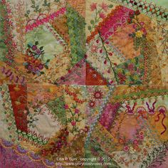 more blocks by Lisa P Boni copyright 2015 lots of detail photos on site Vintage Embroidery, Ribbon Embroidery, Embroidery Stitches, Embroidery Patterns, Crazy Quilt Stitches, Crazy Quilt Blocks, Crazy Quilting, Quilting Ideas, Applique Quilt Patterns