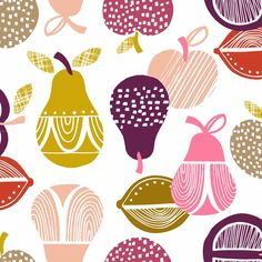 Graphic Fruit Retro Orchard by Wendy Kendall for Dashwood Studios FQ Cool Patterns, Textures Patterns, Fabric Patterns, Print Patterns, Graphic Patterns, Kendall, Fabric Design, Pattern Design, Studios